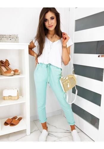 Dámské pohodlné kalhoty s gumičkou v pase v mátové barvě