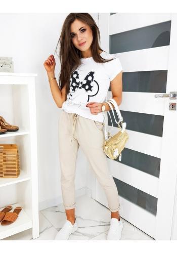Béžové pohodlné kalhoty s gumičkou v pase pro dámy