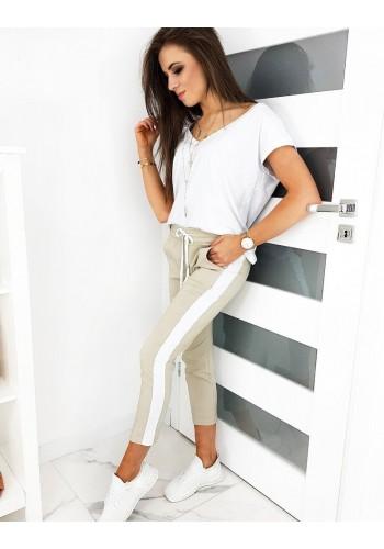 Módní dámské kalhoty béžové barvy s pásem na boku