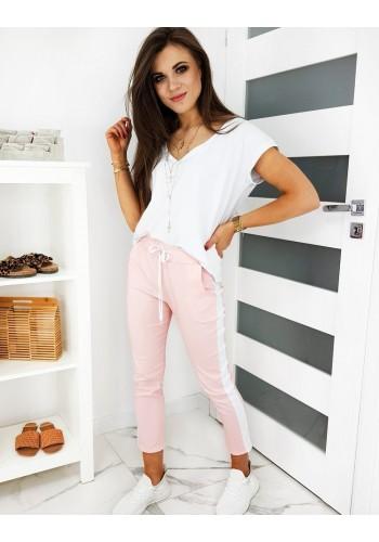 Dámské módní kalhoty s pásem na boku v růžové barvě