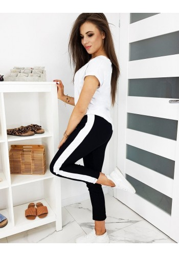 Černé módní kalhoty s pásem na boku pro dámy