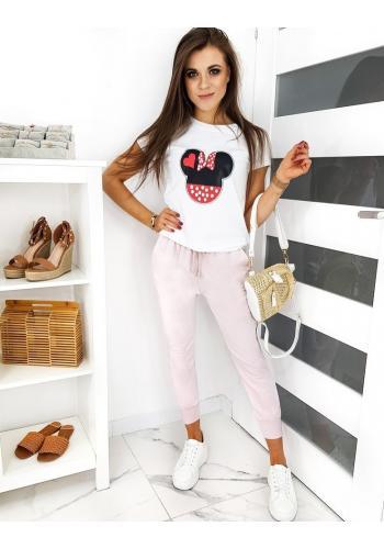 Růžové volnější tepláky ve stylu baggy pro dámy