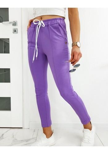 Fialové stylové kalhoty se záhyby pro dámy