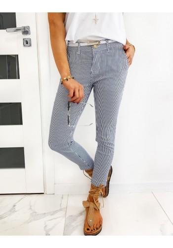 Tmavě modré proužkované kalhoty pro dámy