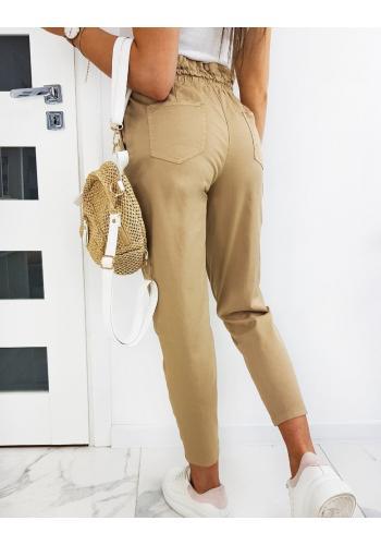 Béžové pohodlné kalhoty s ozdobným nařasením pro dámy
