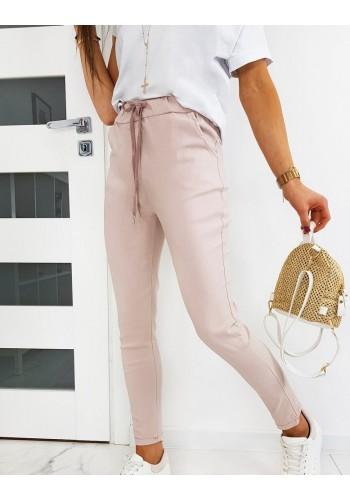 Růžové klasické kalhoty s vázáním pro dámy