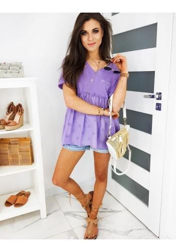Rozšířená dámská halenka fialové barvy s krátkým rukávem