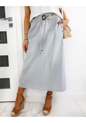 Dámská dlouhá sukně s páskem v šedé barvě