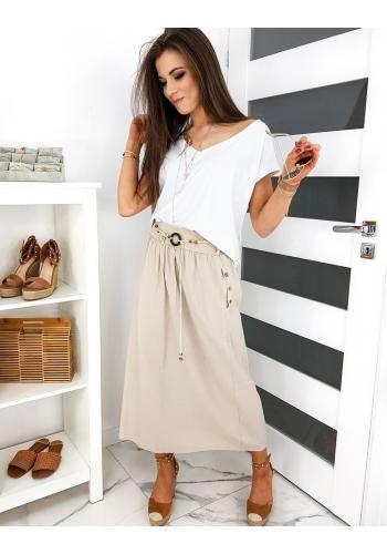 Béžová dlouhá sukně s páskem pro dámy