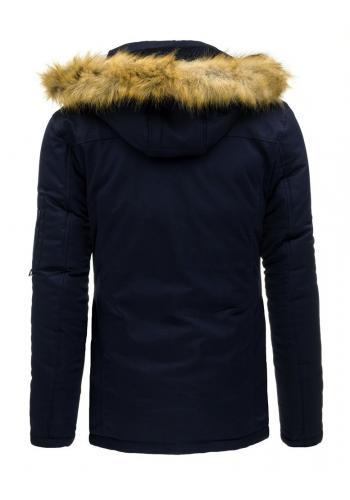 Pánská zimní bunda tmavě modré barvy s odepínatelnou kapucí