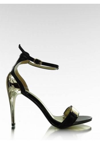 Dámské elegantní sandály černé barvy se zlatým podpatkem
