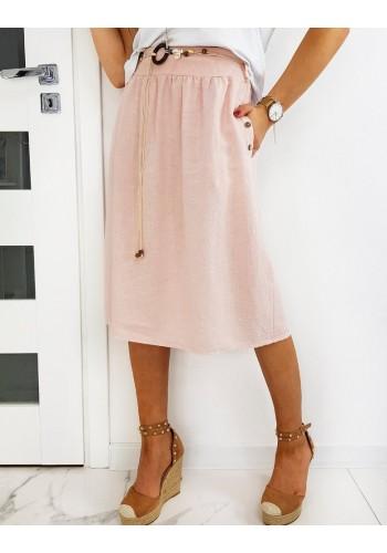 Dámská sukně pod kolena s páskem v růžové barvě
