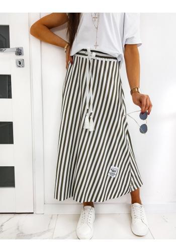 Kaki dlouhá sukně s proužky pro dámy