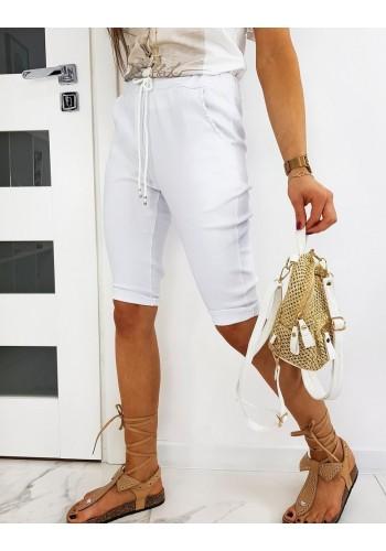 Bílé klasické kraťasy s vázáním v pase pro dámy