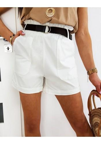 Dámské módní kraťasy s vysokým pasem v bílé barvě