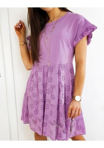 Fialové volnější šaty s ažurovým vzorem pro dámy