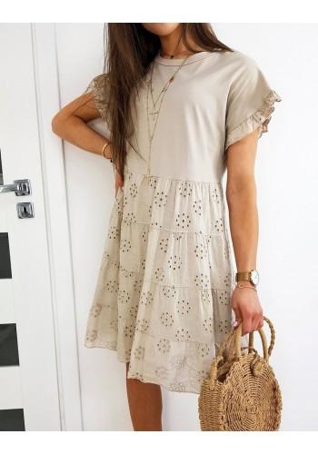 Dámské volnější šaty s ažurovým vzorem v béžové barvě