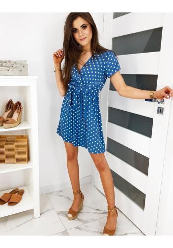 Puntíkované dámské šaty modré barvy s vázáním