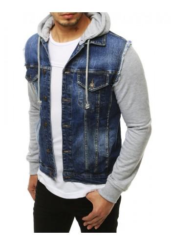 Modrá riflová bunda s teplákovými rukávy a kapucí pro pány
