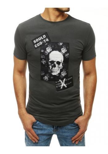 Pánské módní tričko s potiskem v tmavě šedé barvě
