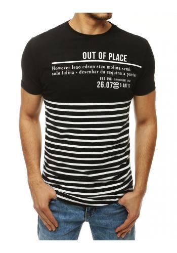 Pánské módní triko s potiskem a nášivkou v černé barvě