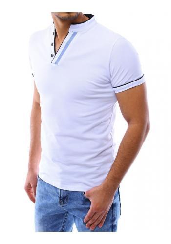 Bílá klasická polokošile se stojacím límcem pro pány