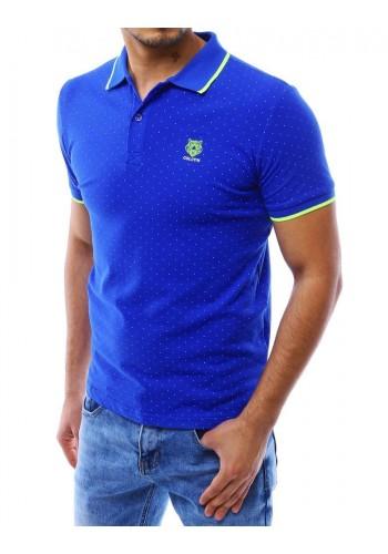 Modrá tečkovaná polokošile s malým potiskem pro pány