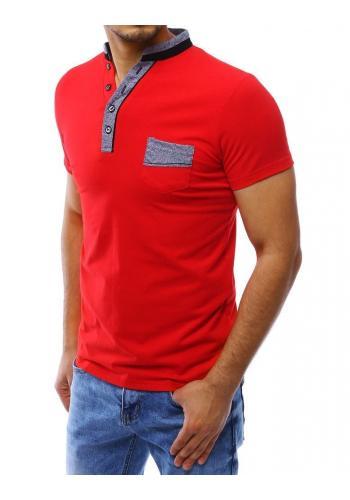 Pánská módní polokošile s kapsou na hrudi v červené barvě