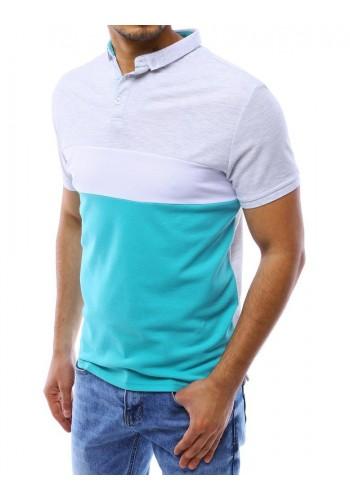Pánská pohodlná polokošile se zapínaným límcem v tyrkysové barvě