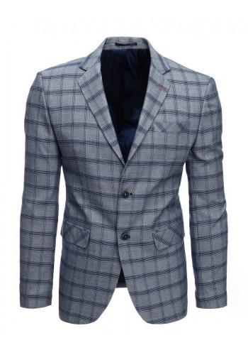 Šedé jednořadé sako s kostkovaným vzorem pro pány