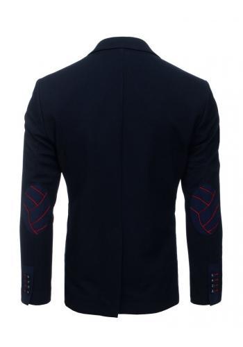 Neformální pánské sako tmavě modré barvy se záplatami na loktech
