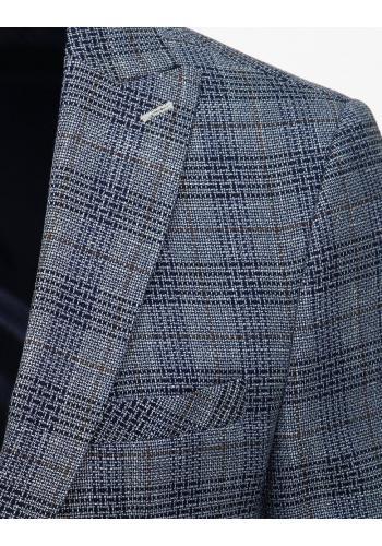 Vzorované pánské sako světle modré barvy s jedním knoflíkem