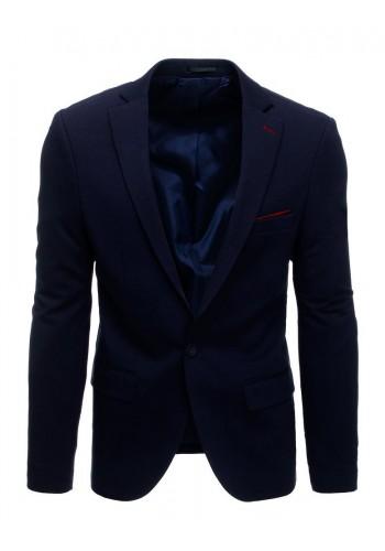 Pánské neformální sako s jedním knoflíkem v tmavě modré barvě