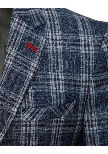 Jednořadé pánské saka tmavě modré barvy s kostkovaným vzorem