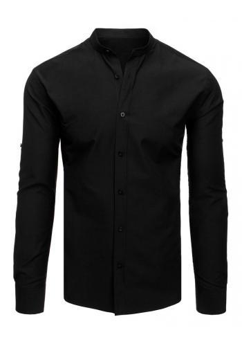 Pánská elegantní košile se stojacím límcem v černé barvě