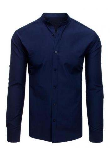 Pánská elegantní košile se stojacím límcem v tmavě modré barvě