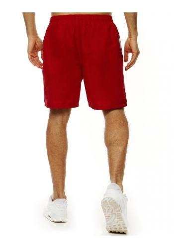 Pánské koupací šortky s kontrastními vložkami v bordové barvě