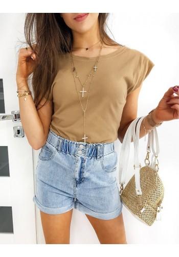 Klasické dámské tričko hnědé barvy s polštáři na ramenou