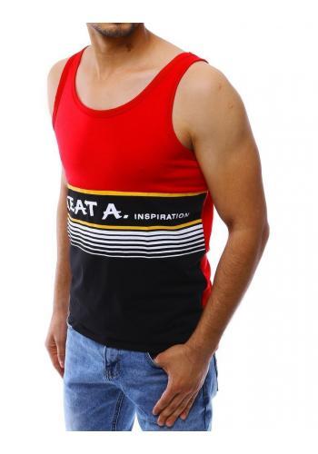 Pánské letní tričko s potiskem v červené barvě