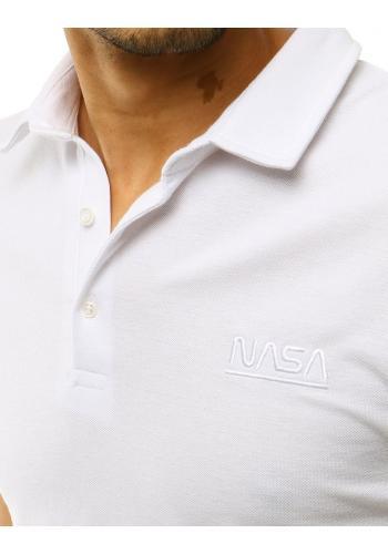 Jednobarevná pánská polokošile bílé barvy s výšivkou NASA
