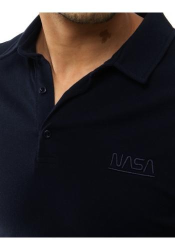 Pánská jednobarevná polokošile s výšivkou NASA v tmavě modré barvě