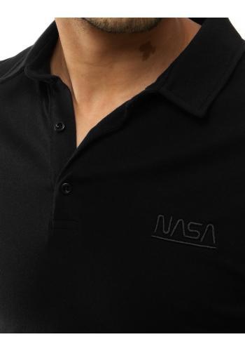 Černá jednobarevná polokošile s výšivkou NASA pro pány