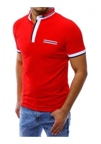 Pánská klasická polokošile s imitací kapsy v červené barvě