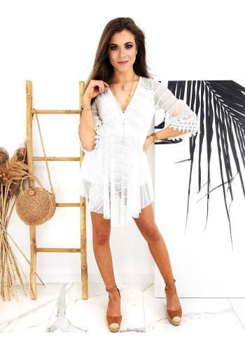 Bílý módní overal ve stylu šatů pro dámy