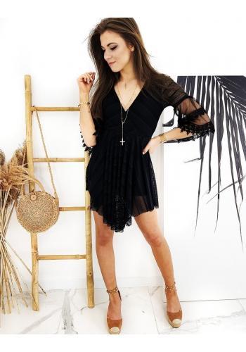 Módní dámský overal černé barvy ve stylu šatů