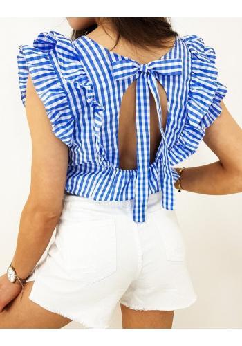 Modrá kostkovaná halenka s ozdobenými rukávy pro dámy