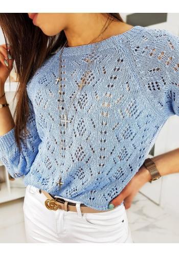 Světle modrý svetr s ažurovým vzorem pro dámy