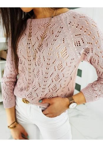 Dámský svetr s ažurovým vzorem v růžové barvě