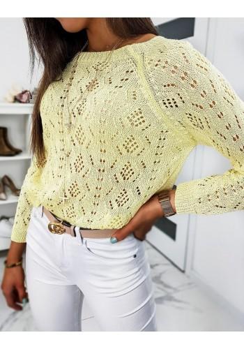 Žlutý svetr s ažurovým vzorem pro dámy