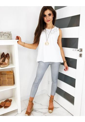 Dámské elegantní kalhoty s kostkovaným vzorem v šedé barvě